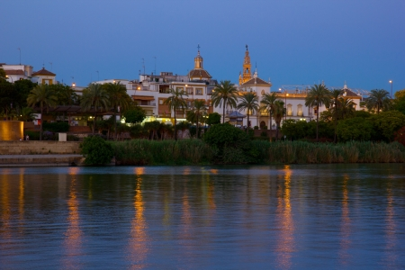 cityscape of Sevilla on river Guadalquivir, Spain photo