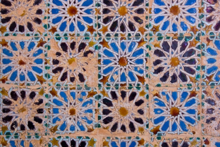 ancient mosaic pattern at the Cartuja monastery, Seville, Spain photo