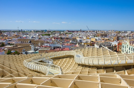 eggtray: cityscape of Seville from the roof of Metropolitan Parasol, Spain