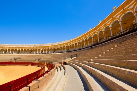 seats of bullfight arena, plaza de toros, Sevilla, Spain