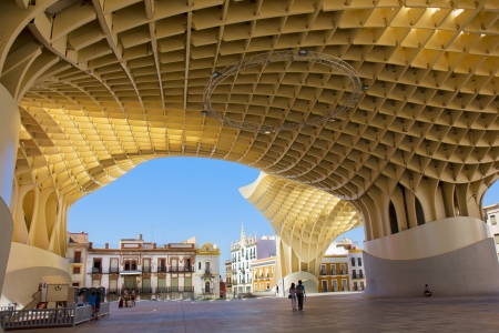 SEVILLA,SPAIN -JUNE 15: Metropol Parasol in Plaza de la Encarnacion on June 15, 2012 in Sevilla,Spain.  Stock Photo - 14699943