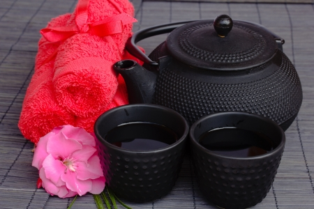 mat like: asian tea set with pink flower and towels