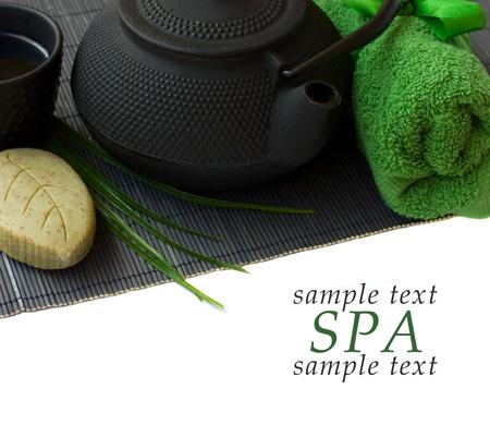 tea towel: asian tea set and spa settings isolated on white bakcground