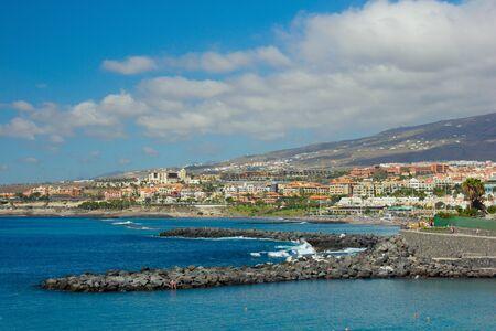 adeje: panoramic view of playa Las Americas, Tenerife, Spain