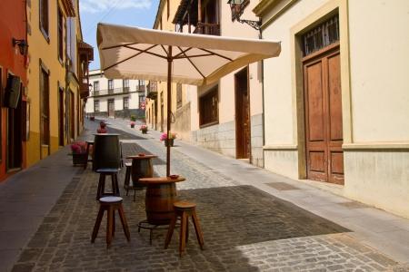 canarias: street with open air cafe,  Orotava, Tenerife island, Canarias, Spain