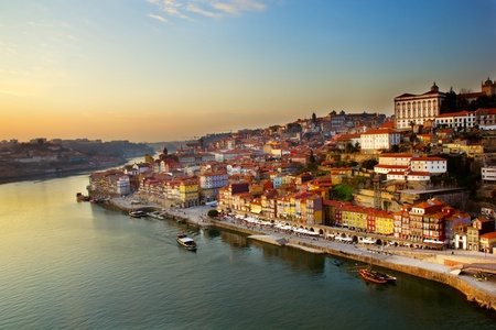 douro: hill with old town of  Porto and river Douro at sunset, Portugal
