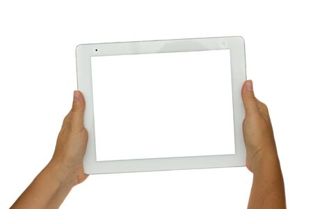 hand holding modern tablet PC isolated on white background with copy space Stock Photo - 14884020