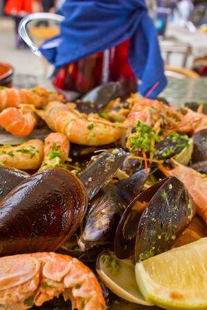 marisco: grilled seafood- parrillada de marisco, traditional spanish dish Stock Photo