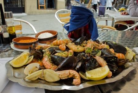 marisco: seafood - parrillada de marisco, spanish dish with sangria wine