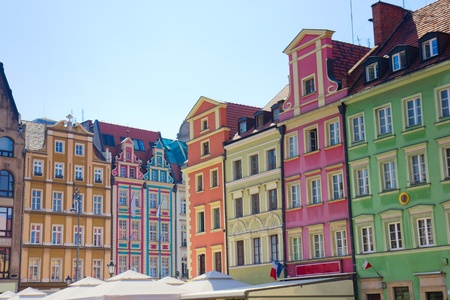 polska: facade of old houses on market square, Wroclaw, Poland