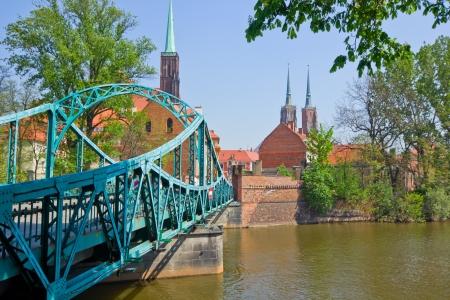 dolnoslaskie: old town of Wroclaw  - bridge to island Tumski, Poland