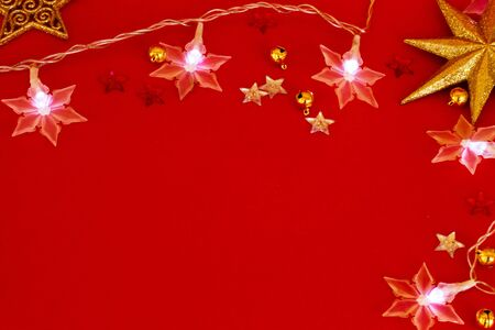 red new year background with  stars light Stock Photo - 15389681