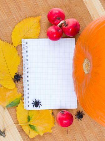 empty notebook with leaves, apples, pumpkin and spiders on wooden board photo