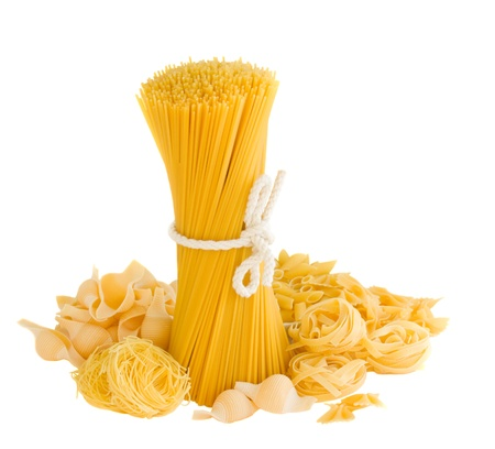 variations of italian pasta isolated on white background photo