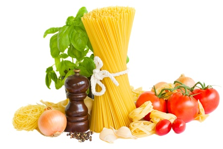 ingredients for italian pasta isolated on white photo