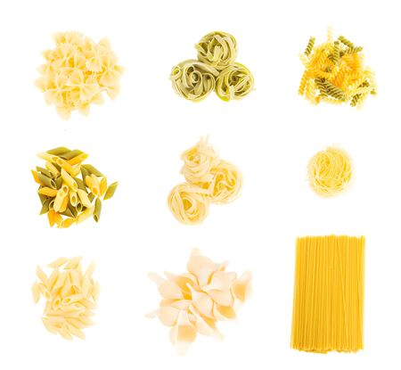 set of italian pasta isolated on white background photo