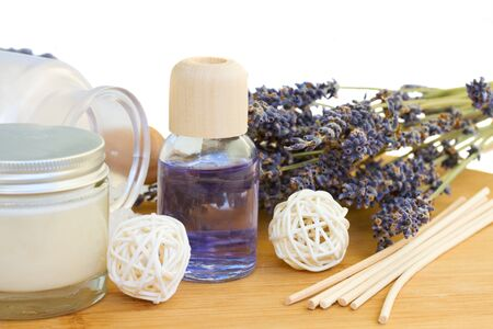 Lavender essence oil and  spa set isolated on white background photo