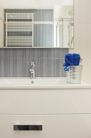 Details of modern  gray and white bathroom photo
