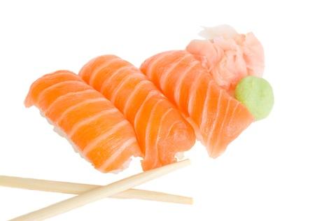 sushi with chopsticks  isolated on white background Stock Photo - 15642123