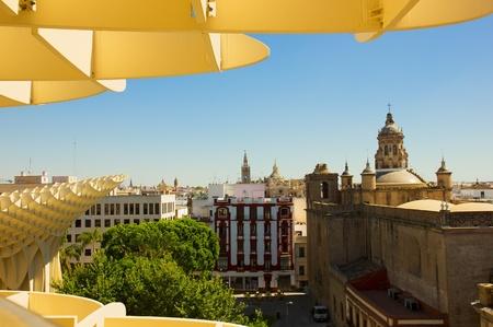 eggtray: cityscape of Seville and roof of Metropolitan Parasol, Spain
