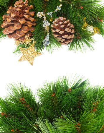 chrismas decorations and pine cones isolated on white with copy space Stock Photo - 15736957