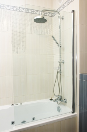 shower in modern gray and white  bathroom Stock Photo