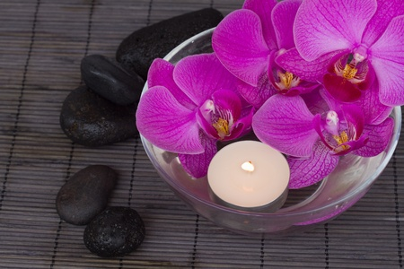 oriental massage: bowl  with  orchid with candels and zen stones