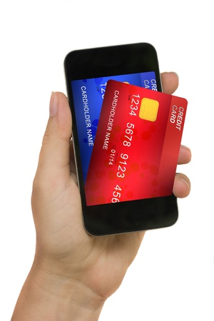 hand holding phone with credit cards on display isolated on white background