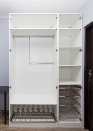 empty white modern wardrobe  - renovations concept photo