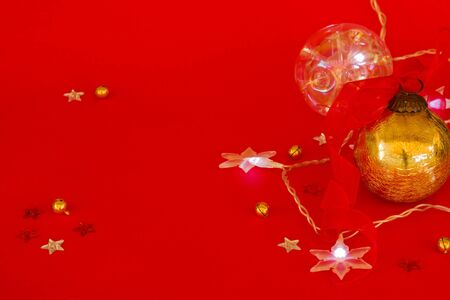 red new year background with  stars light and golden ball Stock Photo - 15899494