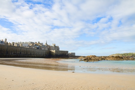 st malo: Saint-Malo City Wall and old town - Intramuros , Brittany, France Stock Photo