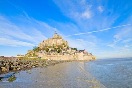 mont saint michel: Mont Saint Michel city over sea tide,  France