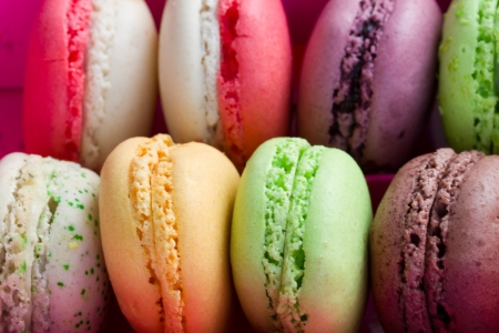 pile of french multicolored  macaroons close up  photo