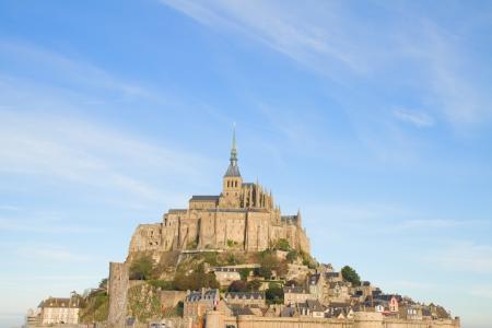 mont saint michel: close up of Mont Saint Michel,  France Stock Photo