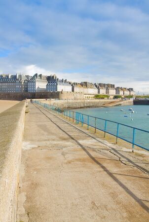 old town  Intramuros  of  Saint Malo from the pierce, Brittany, France photo