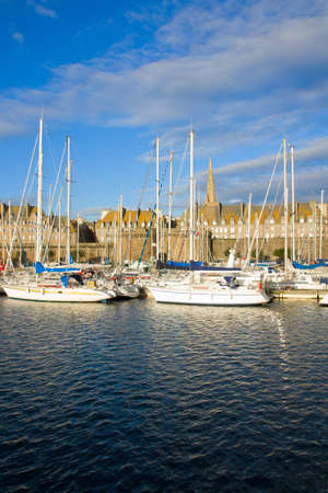 st malo: old town and marina of  Saint Malo, Brittany, France Stock Photo