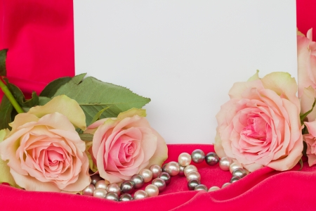 pink roses with pearls  and blank card photo