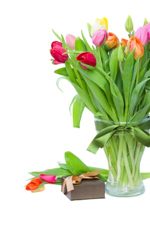 fresh tulips with present box isolated on white background photo