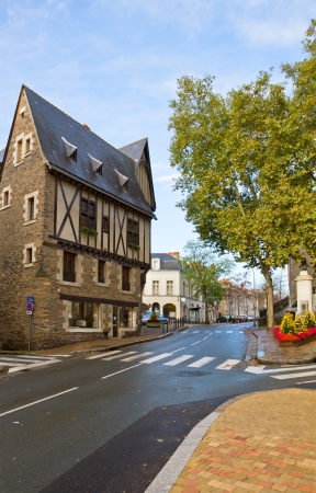 pays: old town with historic timbered houses, Angers, France Stock Photo