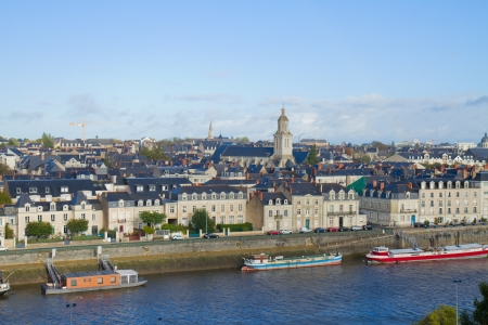 francais: panoramic view  of Angers on Maine river, France