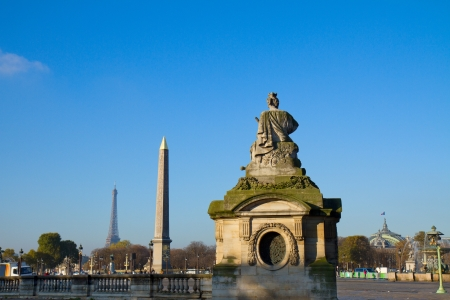 Eiffel Tower and The Obelisk  from Place de la Concorde, Paris, France
