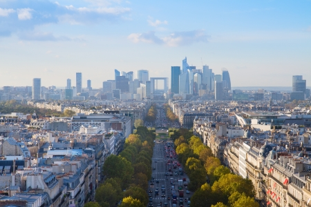 defense: skyline of Paris city  towards La Defense district, France