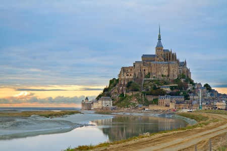 Mont Saint Michel city at sunset, Brittany,  France