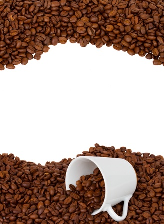 cup of coffee  on raw beans frame