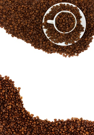 cup of coffee  on raw beans frame isolated on white Stock Photo - 16756737