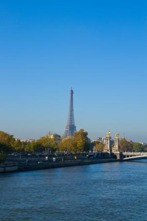 Eiffel tower over Alexandre III Bridgeat at Seine riverbank,  Paris, France photo