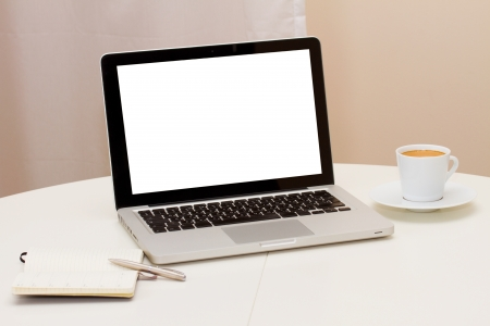 paper screens: Working at home - open notebook, copy space on display