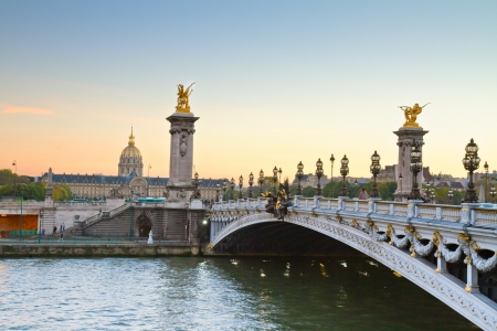 Alexandre III Bridge at sunset,  Paris, France photo