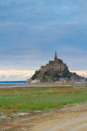 Mont St Michel city at sunset, Brittany,  France photo