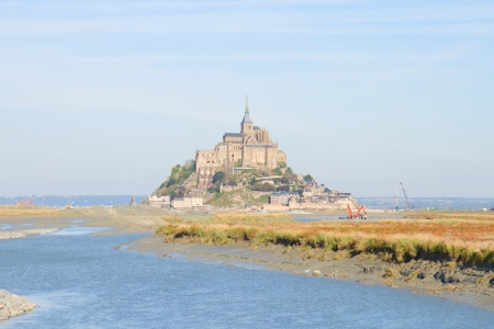Mont Saint Michel city over sea waters, Normandy,  France photo